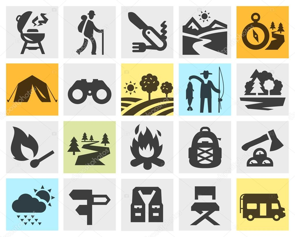 Camping clipart expedition Walking and or icons expedition