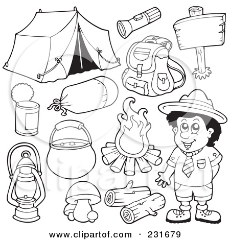 Camping clipart spring activity Page Illustration Digital of (RF)