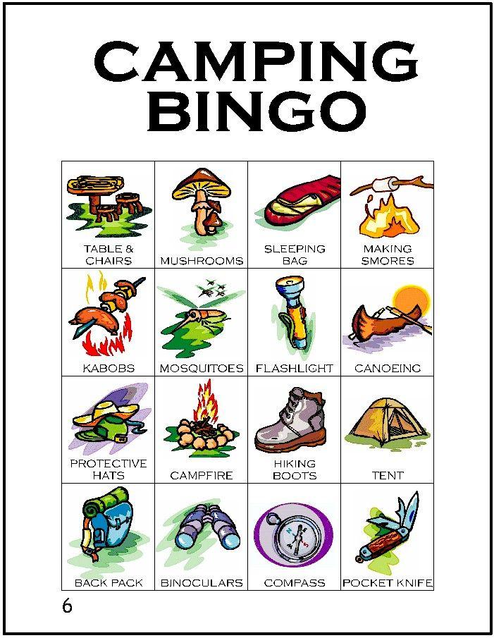Camping clipart spring activity Unique bingo cards game 25+