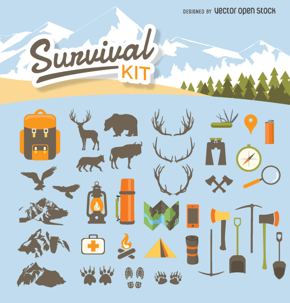 Camping clipart survival kit Kit Vector survival Camping 589x614px