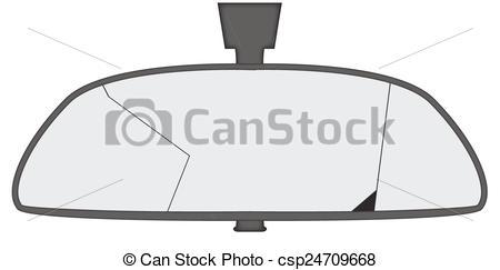 Drawn mirror Of A Rear car Smashed