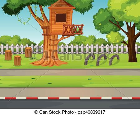 Countyside clipart village school Vector Park road treehouse scene