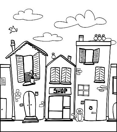 Drawn house crayon Pin this Cityscapes~Landmarks 744 ~