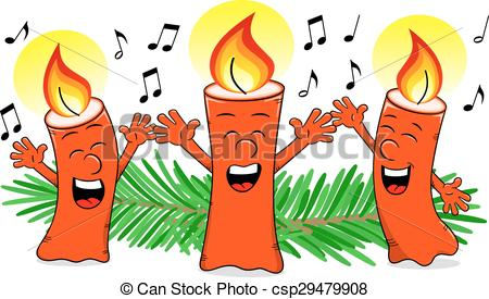 Candle clipart carol by candlelight Singing candles Christmas cartoon cartoon