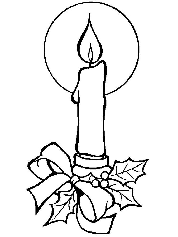 Candle clipart coloring page Christmas Free Art Cake Online
