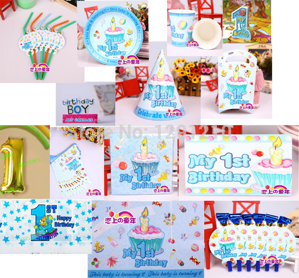 Candle clipart party table First birthday supplies cover boy