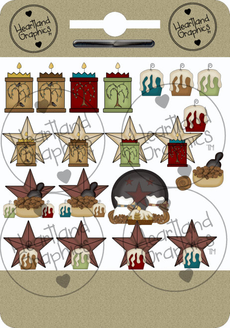 Candle clipart primitive Country primitive candle Star clip