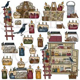 Candle clipart primitive GraphicsDollar and Candles Crows com