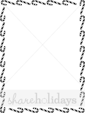 Candy Cane clipart border White Christmas Portrait Borders Black