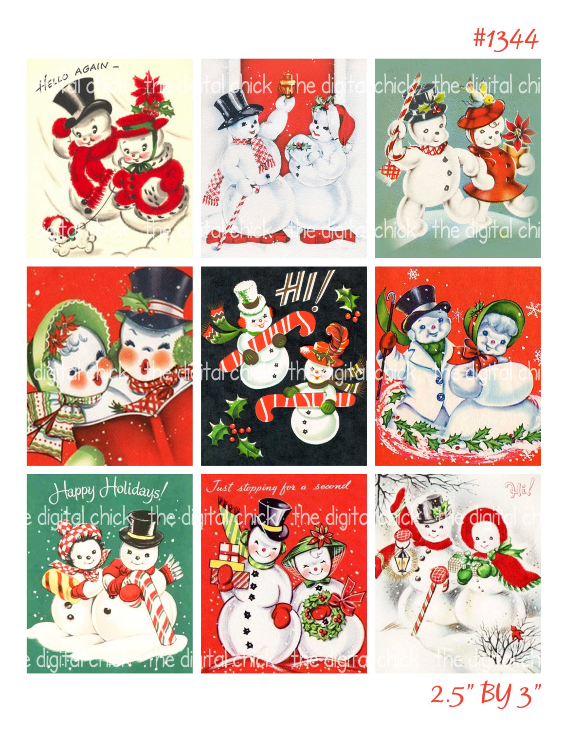 Candy Cane clipart christmas couple Clipart Cards Vintage Christmas digital
