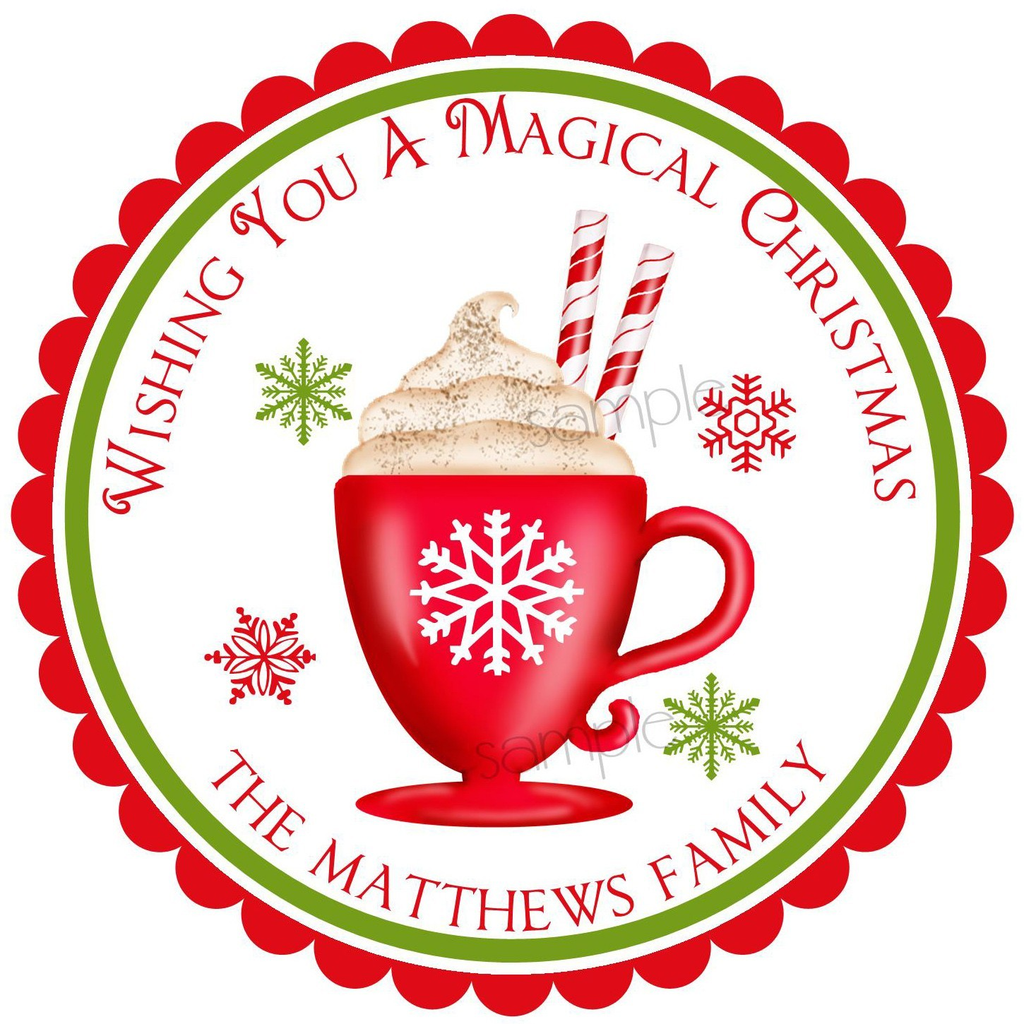 Candy Cane clipart christmas goody Chocolate Stickers Cream Personalized Candy