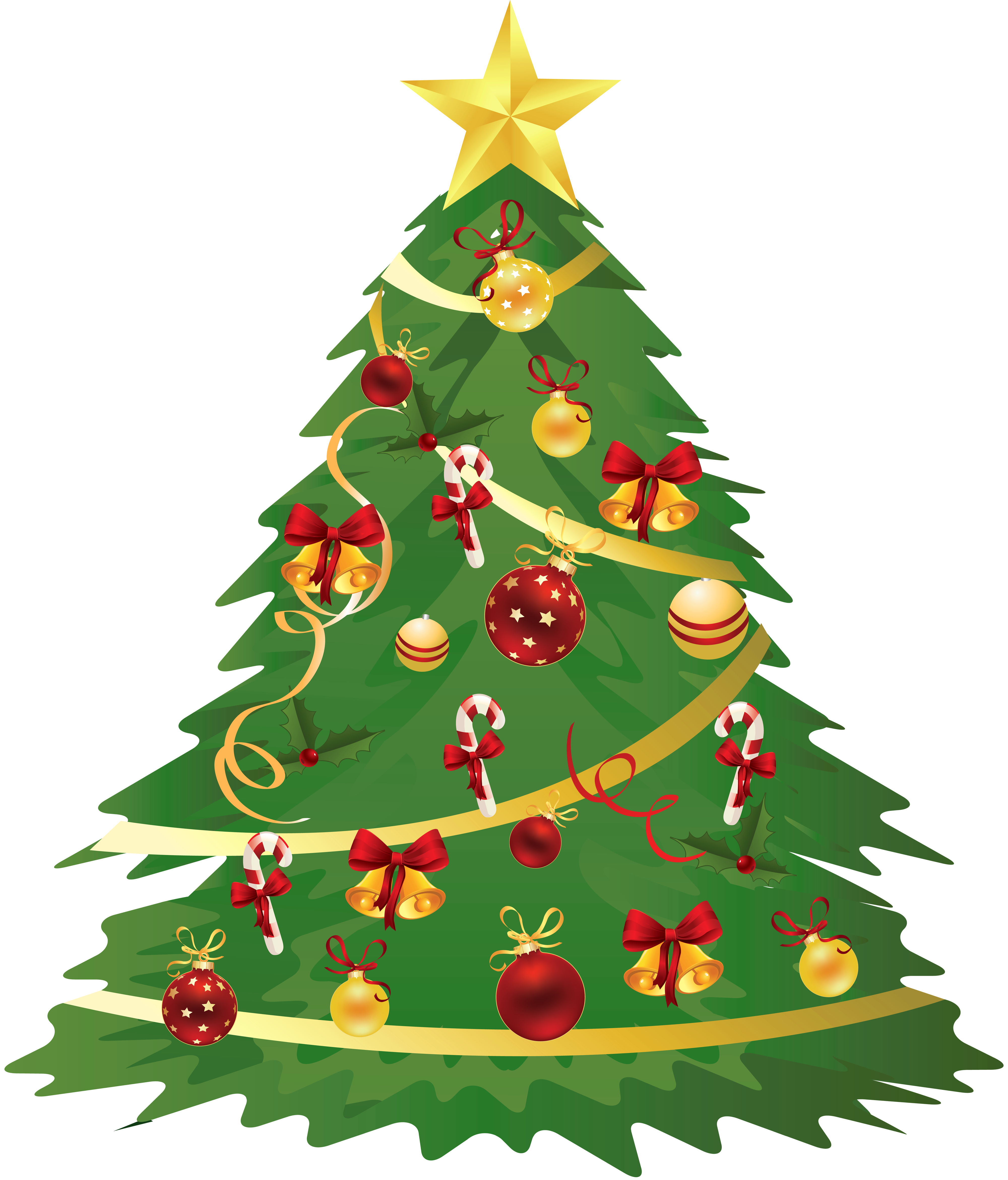 Christmas Tree clipart clear background · with Ornaments Canes Transparent
