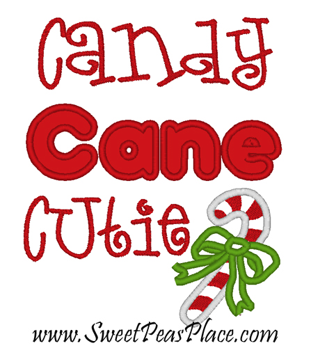 Candy Cane clipart cutie Candy Applique Christmas Sayings Embroidery