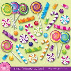 Candy Cane clipart lollipops Clipart SWEET Instant Art Illustrations
