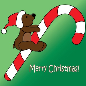 Merry Christmas clipart candy cane A a Wearing Teddy Image: