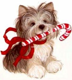 Yorkies clipart christmas Christmas ClipartVintage cute Kitten and