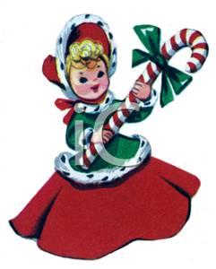 Candy Cane clipart vintage Skirt Bonnet a a