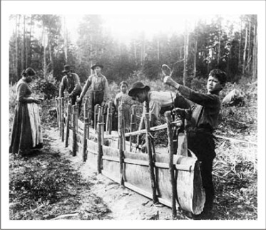 Canoe clipart ojibwe Canoes Birchbark canoes Building step