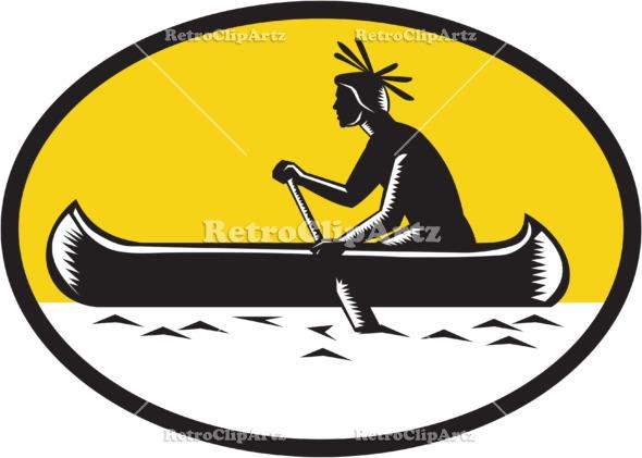 Canoe clipart side Canoe Vector american Woodcut Woodcut