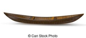 Canoe clipart wooden canoe Isolated on white 3d