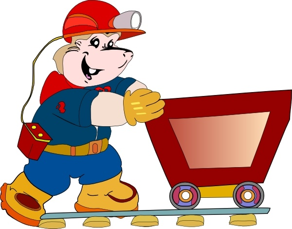 Caol clipart coal cart Art Pushing Miner Coal Cart