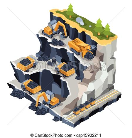 Caol clipart quarry Coal isometric Clip mining Vector