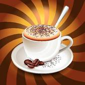 Cappuccino clipart black and white Cup rays Royalty Cappuccino GoGraph