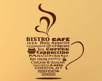 Cappuccino clipart bistro Bistro Coffee Art Sign Decal
