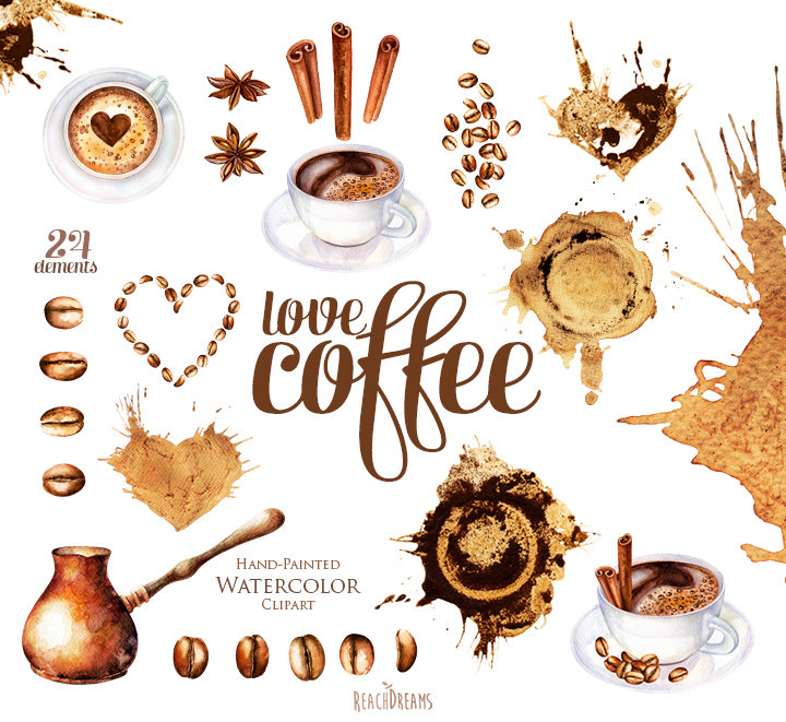 Cappuccino clipart coffee bean Digital cup This is Watercolor