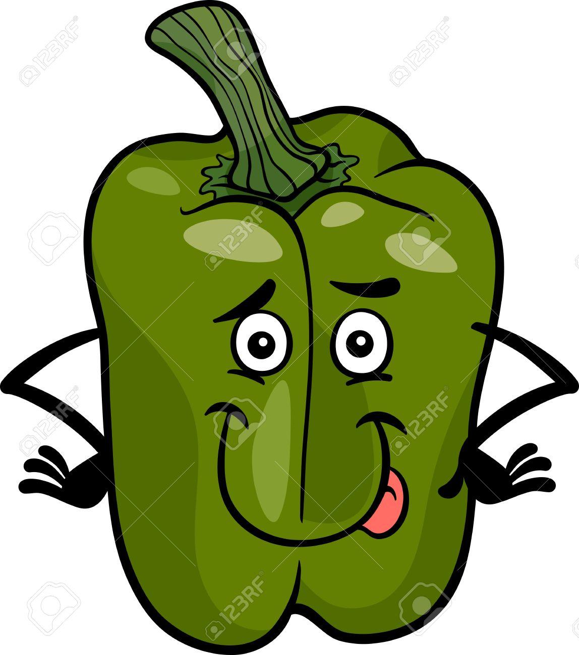 Capsicum clipart green leafy vegetable Vector Cartoon Pinterest Funny Vegetable