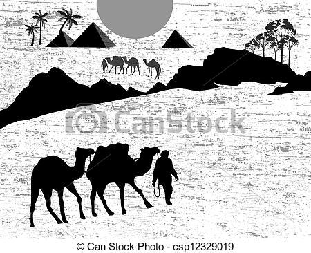Camel Caravan clipart black and white Camel wild in caravan Vector