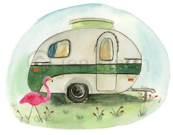 Camper clipart painted vintage Find Pin this illustrations on