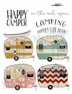 Camper clipart painted vintage Retro Retro Folder Camper Retro