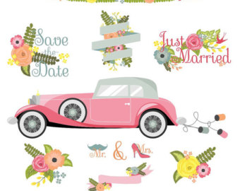 Classic Car clipart convertible Floral Flower Car Wedding Clipart