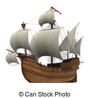 Caravel clipart 3D Realistic With Caravel Sails