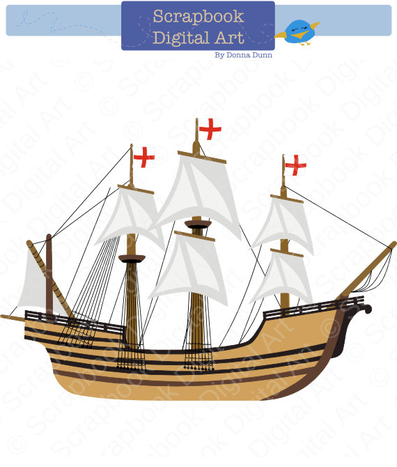 Sailing Ship clipart mayflower ship Art La Carabela Clip Art
