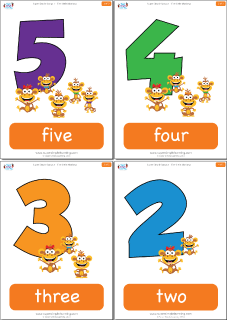 Card clipart number card Little Monkeys Five Flashcards Super