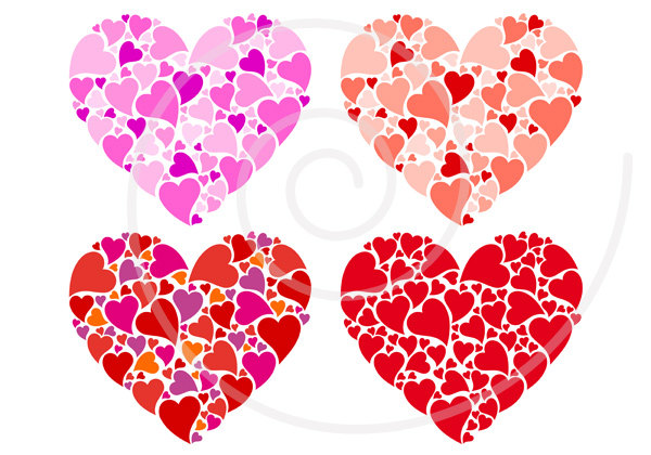 Card clipart red heart Clip digital card for set
