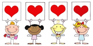 Card clipart valentine's day Day Valentine Holding Four Angels