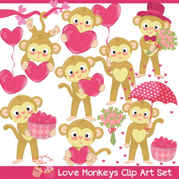 Cards clipart paper Day Valentine Monkeys 234 Set