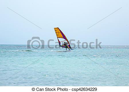 Caribbean clipart aruba Windsurfer Sea Sea  Aruba