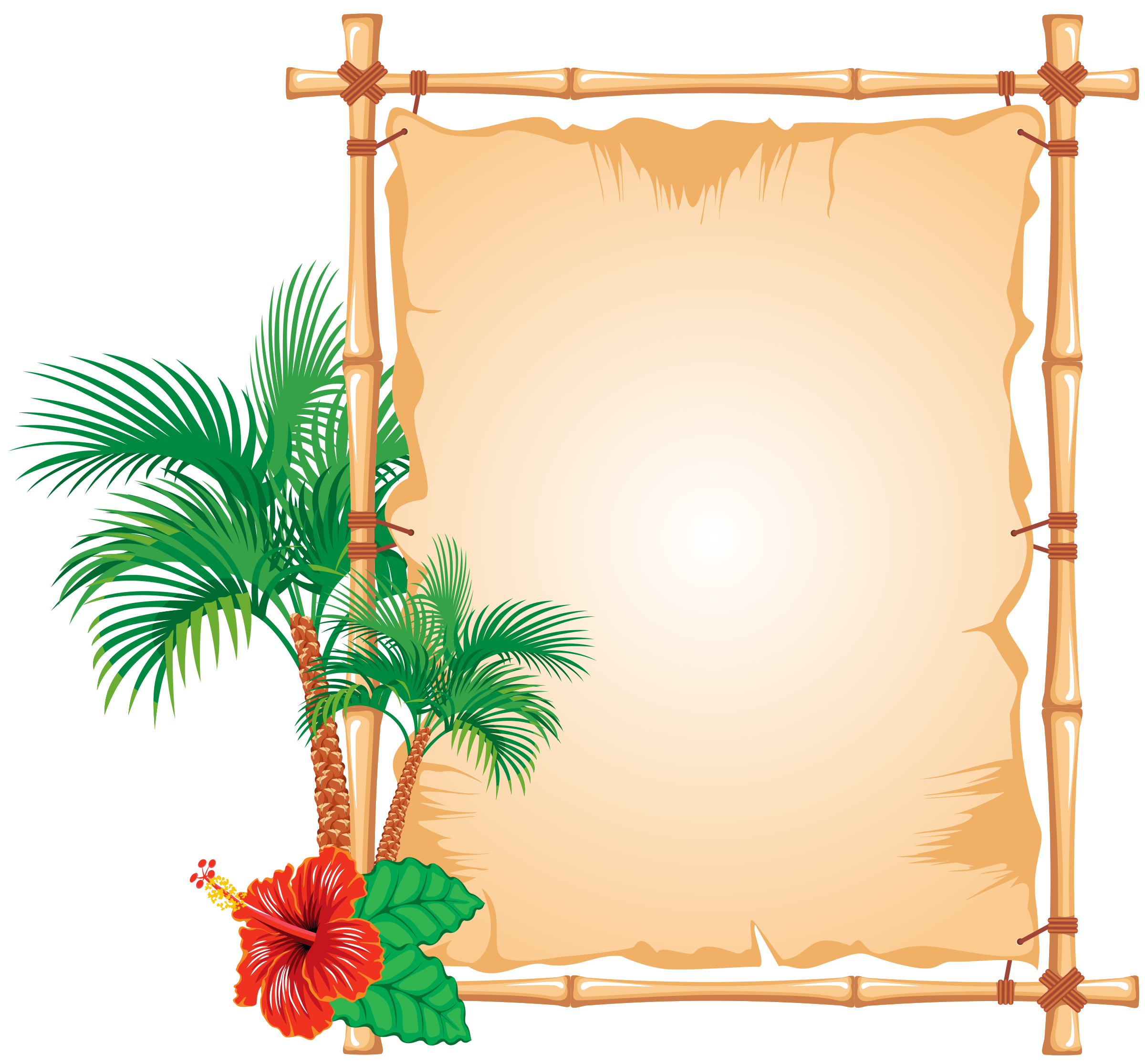 Caribbean clipart flower decoration Bamboo frame Decorated Clipart frame