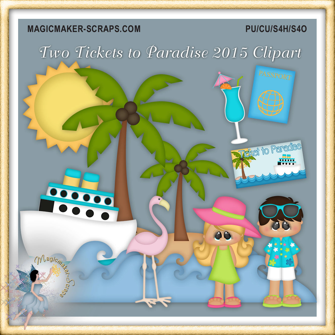 Vacation clipart paradise Paradise digital Caribbean Two Vacation