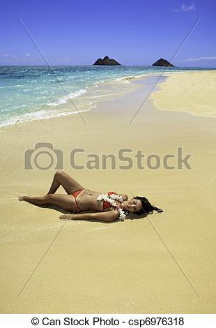 Caribbean clipart polynesian Girl Stock beach water's girl