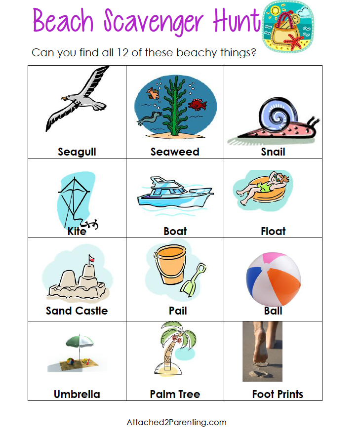 Caribbean clipart scavenger hunt Scavenger Attached scavenger with Printable!