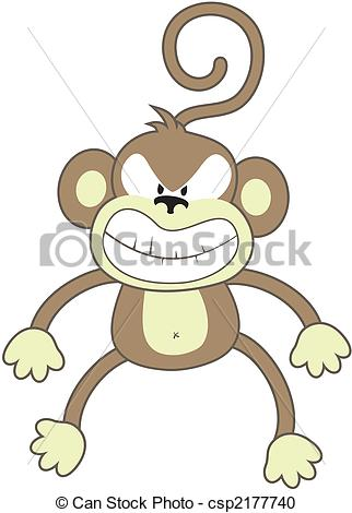 Caricature clipart angry baby Angry  isolated monkey monkey