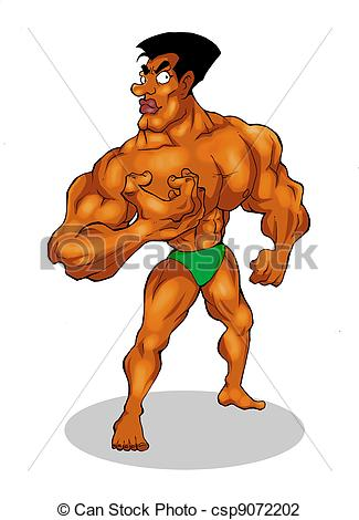 Caricature clipart muscle man Builder of illustration Art Clip