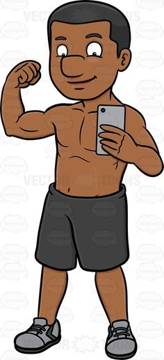 Caricature clipart muscle man Posing a take his flexing