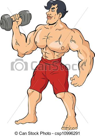 Caricature clipart muscle man Illustration muscular a of Vectors