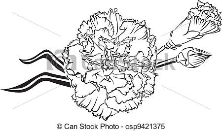 Carnation clipart black and white Of  054 Images and